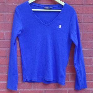 Polo Ralph Lauren Blue Cotton V'neck Top Shirt XL